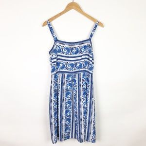 NWT LOFT Blue White Floral Sun Dress Pleated